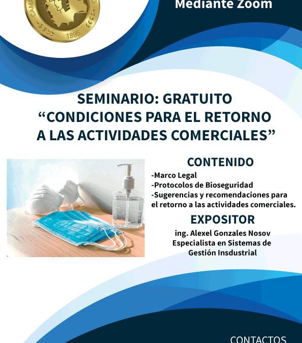 """Seminario Gratuito """"Condiciones para el retorno a las actividades comerciales"""""""