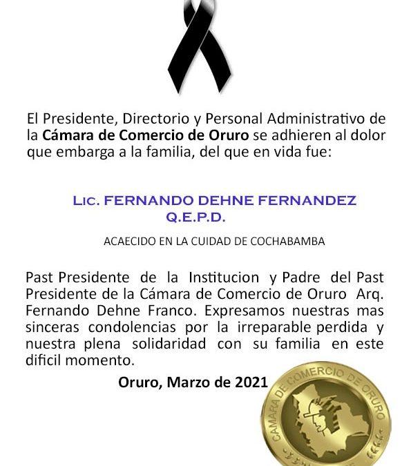 Anuncio funesto, del que en vida fue Lic. Fernando Dehne Fernández